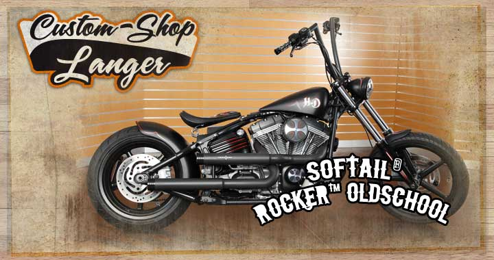 Harley Softail Rocker Umbau - Oldschool Custombike durch Custom-Shop Langer