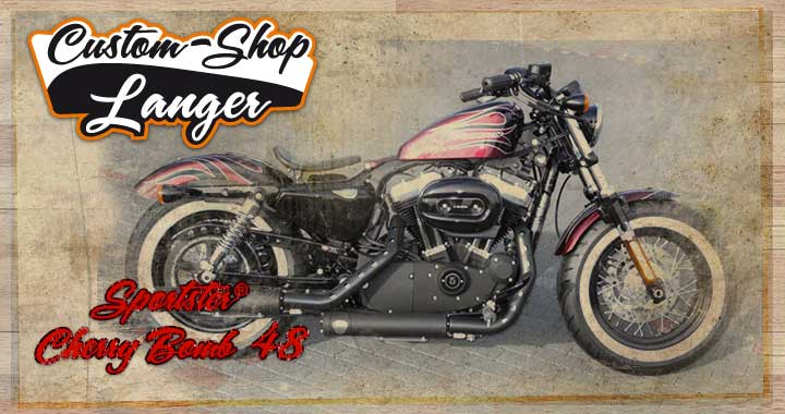 Der Custom-Shop von Harley-Shop Langer präsentiert Harley Sportster Fourty-Eight 48 Umbau Cherry Bomb Custombike