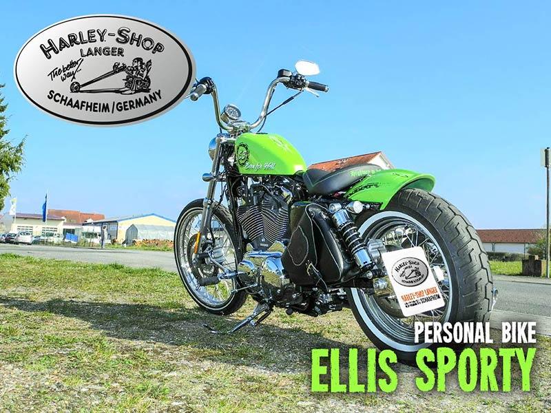 Harley-Shop Langer Sportster Seventy-Two Umbau Ellis Sporty Custombike