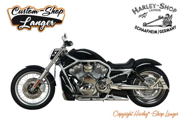 v rod 280 custombike umbau customshop langer harley. Black Bedroom Furniture Sets. Home Design Ideas