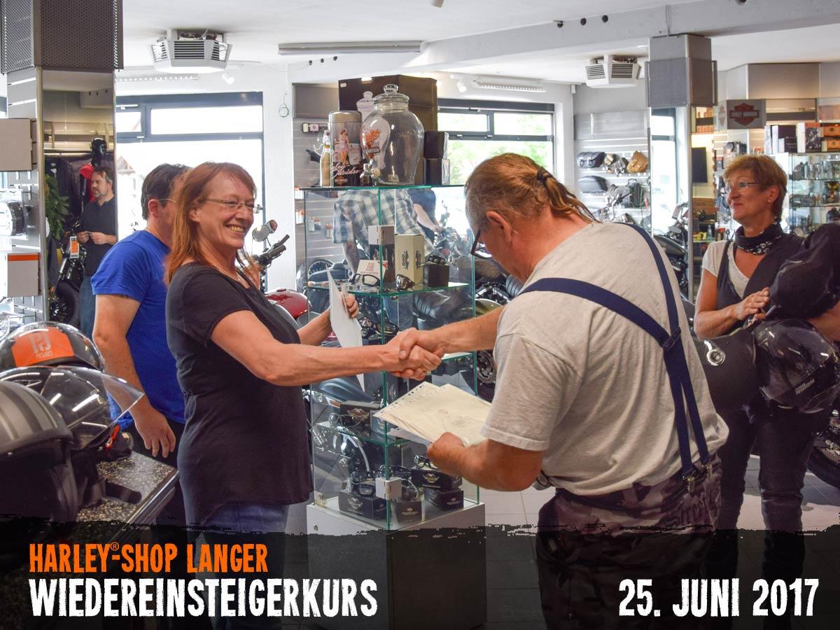 Harley-Shop Langer Wiedreinsteigerkurs 25. Juni 2017